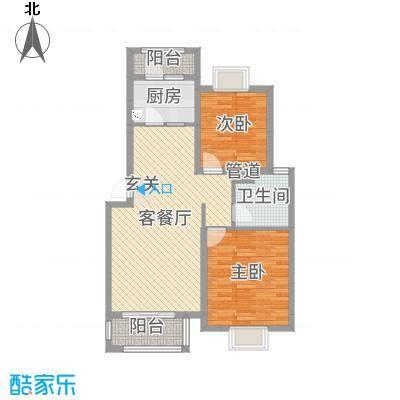 博威・江南明珠苑86.21㎡E型户型2室2厅1卫1厨