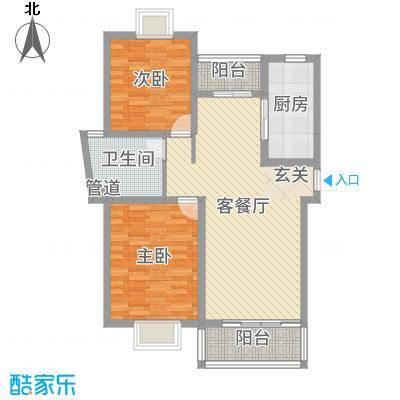 博威・江南明珠苑91.00㎡C型户型2室2厅1卫1厨