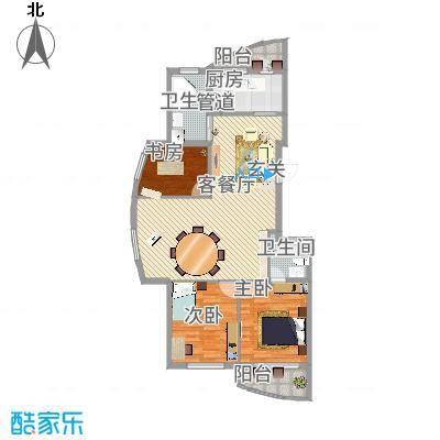 柳岸晨韵126.00㎡F户型3室-副本