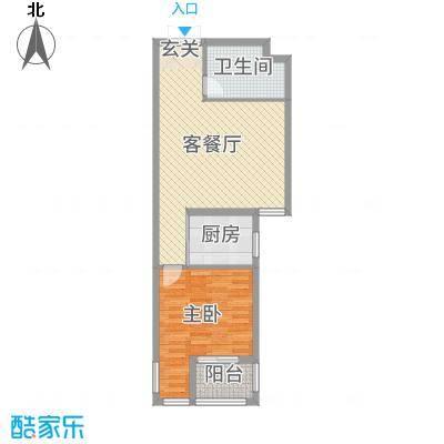 泰乐家园65.99㎡一期A区高层C户型1室1厅1卫1厨