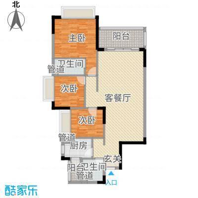 罗村风度花园111.65㎡20栋01单元户型3室3厅2卫1厨