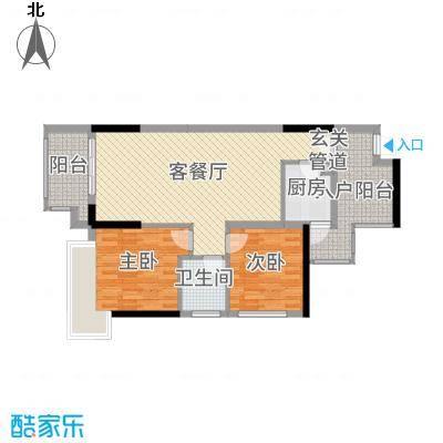 丰泰观山碧水・凌峰88.00㎡2栋/3栋/6栋04户型2室2厅1卫1厨