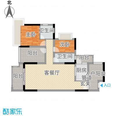 丰泰观山碧水・凌峰104.00㎡2栋1、2单元01户型2室2厅2卫1厨