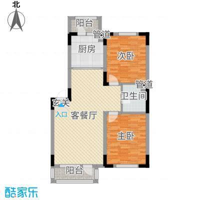 绿厦・爵仕意境90.00㎡标准层A1户型2室2厅1卫1厨