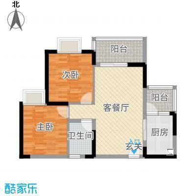 铜锣湾87.00㎡3#楼C1户型2室2厅1卫