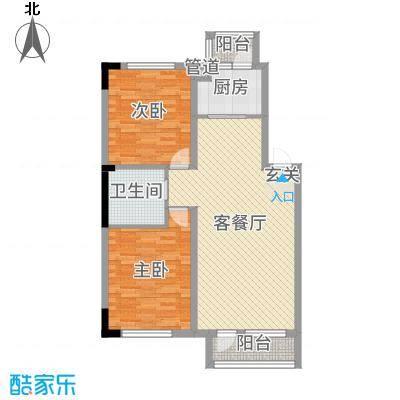 绿厦・爵仕意境92.00㎡标准层A3户型2室2厅1卫1厨