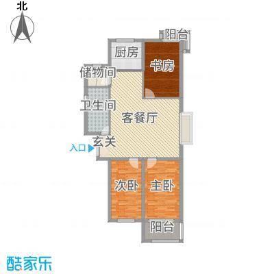 泰乐家园127.10㎡一期高层C户型3室3厅1卫1厨