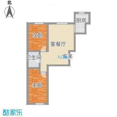 润和西部尚城81.49㎡8号楼D户型2室2厅1卫1厨