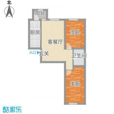 润和西部尚城86.81㎡8号楼F户型2室2厅1卫1厨