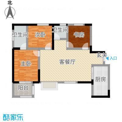 荣华水岸新城106.80㎡62#A-1户型3室3厅2卫1厨