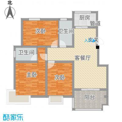 1980123.05㎡一期标准层D2户型3室3厅2卫