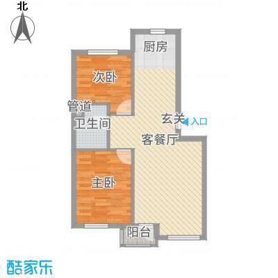 绿色家园79.98㎡E熙境户型2室2厅1卫1厨