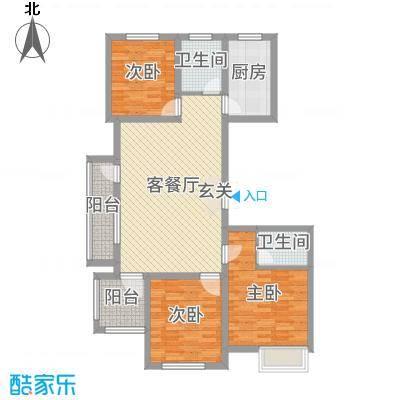 国鸿・香樟苑110.00㎡高层1#3#5#号楼边户A户型3室3厅2卫1厨
