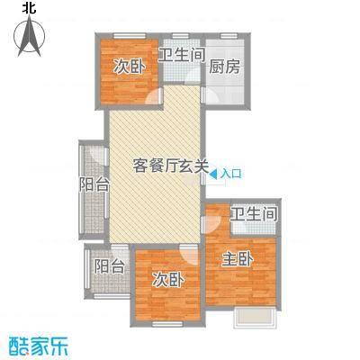 国鸿・香樟苑105.00㎡小高层6号楼边户A1户型3室3厅2卫1厨