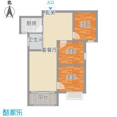 锦绣江南101.00㎡15#16#C户型3室3厅1卫1厨