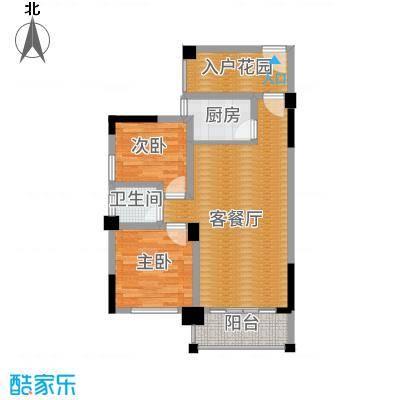 三景国际88.00㎡月华阁F户型2室1厅1卫1厨-副本