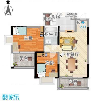 水岸名都90.00㎡水岸名都户型图J22室2厅1卫户型2室2厅1卫-副本