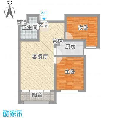 花苑88.80㎡C户型2室2厅1卫1厨