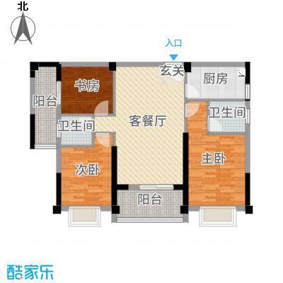 永鸿御珑湾98.00㎡8#02户05型户型3室3厅2卫1厨