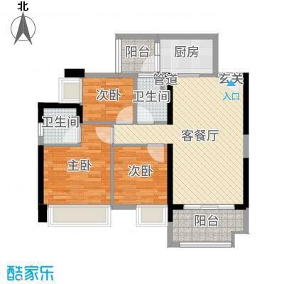 豪逸御华庭88.00㎡15栋03/04单位户型3室3厅2卫1厨
