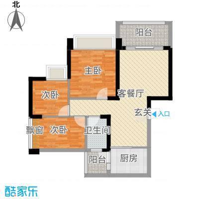 豪逸御华庭88.00㎡15栋01单位户型3室3厅1卫1厨