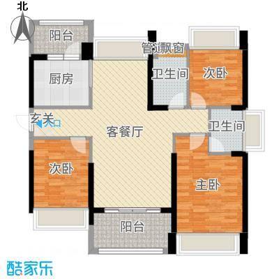 豪逸御华庭117.00㎡15栋02单位户型3室3厅2卫1厨