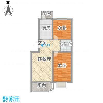 坤博幸福城79.75㎡E-3户型2室2厅1卫1厨