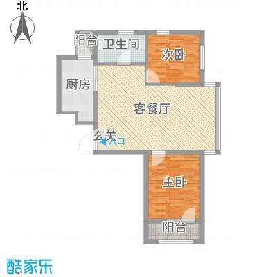 坤博幸福城80.75㎡M-3户型2室2厅1卫1厨