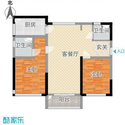 无锡碧桂园86.00㎡Y220A2户型2室2厅2卫1厨