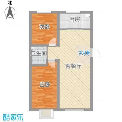 铭峰家苑87.32㎡7#L1户型2室2厅1卫1厨