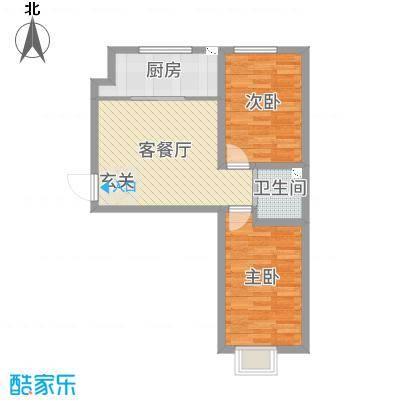 铭峰家苑74.48㎡6#、7#F2户型2室2厅1卫1厨