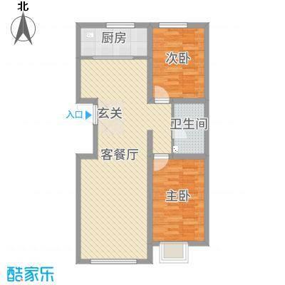 铭峰家苑88.55㎡8#、9#R2户型2室2厅1卫1厨