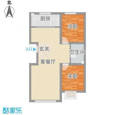 铭峰家苑89.66㎡2#、3#J2户型2室2厅1卫1厨