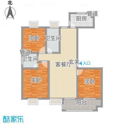 昌和时代143.36㎡J户型3室3厅2卫1厨