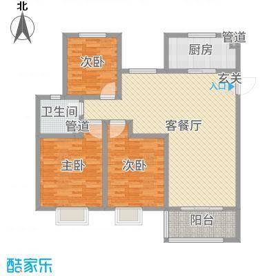 昌和时代125.19㎡B户型3室3厅1卫1厨