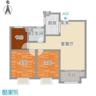 昌和时代105.91㎡C户型3室3厅1卫1厨