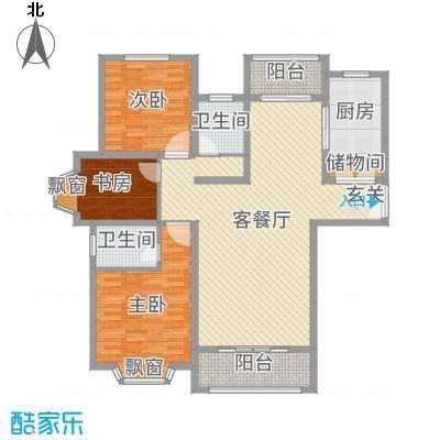 爱法山水国际139.00㎡A户型3室3厅2卫1厨