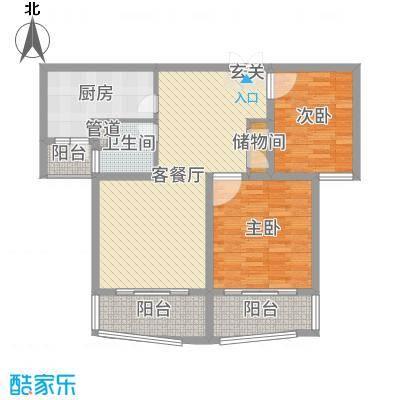 爱法山水国际105.00㎡E户型3室3厅1卫1厨