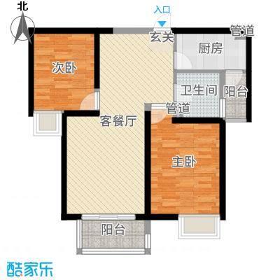 高科绿水东城86.52㎡二期1/2号楼户型2室2厅1卫1厨
