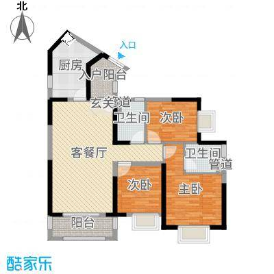 星城翠珑湾107.00㎡四期8栋3单元02户型3室3厅2卫1厨