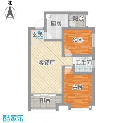 佳龙・大沃城76.98㎡7号楼C户型2室2厅1卫1厨