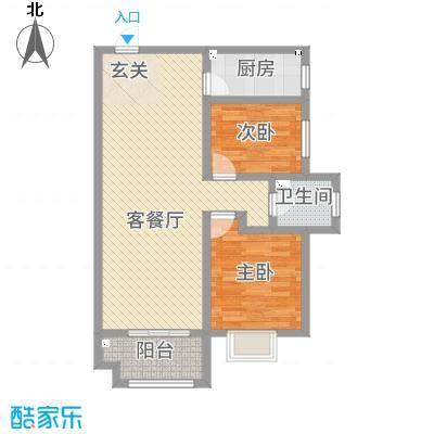 佳龙・大沃城87.43㎡5号楼B户型2室2厅1卫1厨
