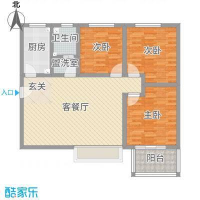佳龙・大沃城109.26㎡7号楼A户型3室3厅1卫1厨