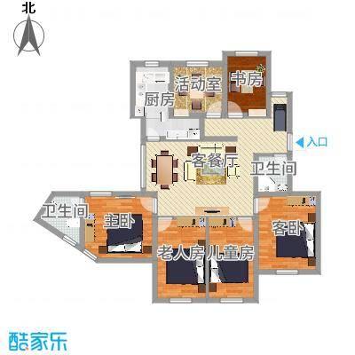 御珑湾151.41㎡D户型荣居户型4室2厅2卫1厨-副本
