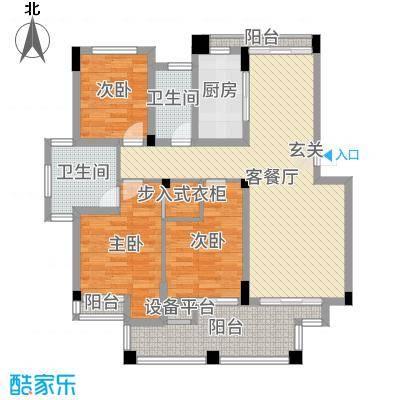 华润金色阳光108.02㎡一期花园洋房A42F户型3室3厅1卫