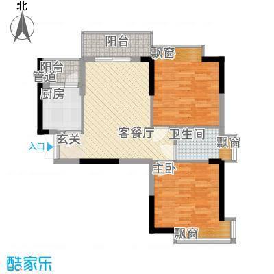翠堤湾76.20㎡F4栋标准层户型2室2厅1卫-副本