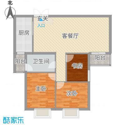 贝尔紫园102.24㎡10224A平户型3室3厅1卫1厨