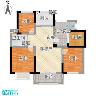 新湖明珠城94.00㎡香湖苑高层G户型3室3厅1卫1厨
