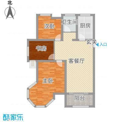 御龙湾103.98㎡B6户型3室3厅1卫1厨