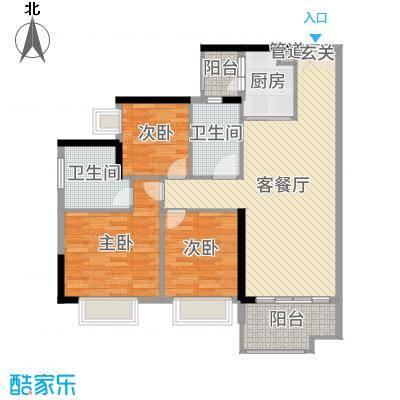 星汇云锦102.00㎡三期6栋02户型3室3厅2卫1厨